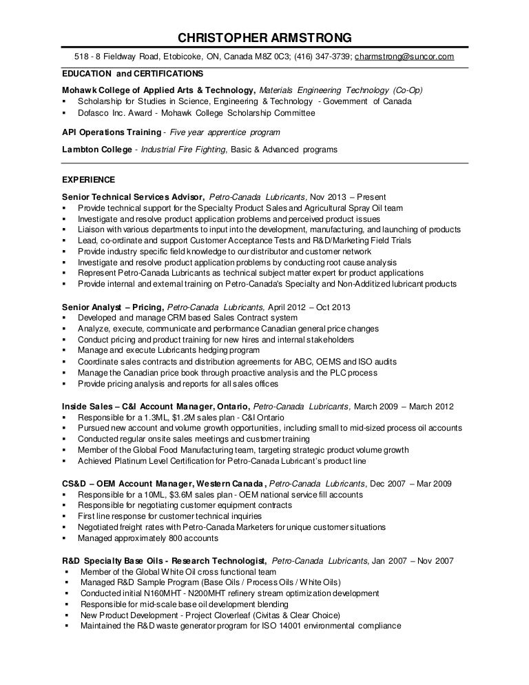 Christopher Armstrong - Current Resume