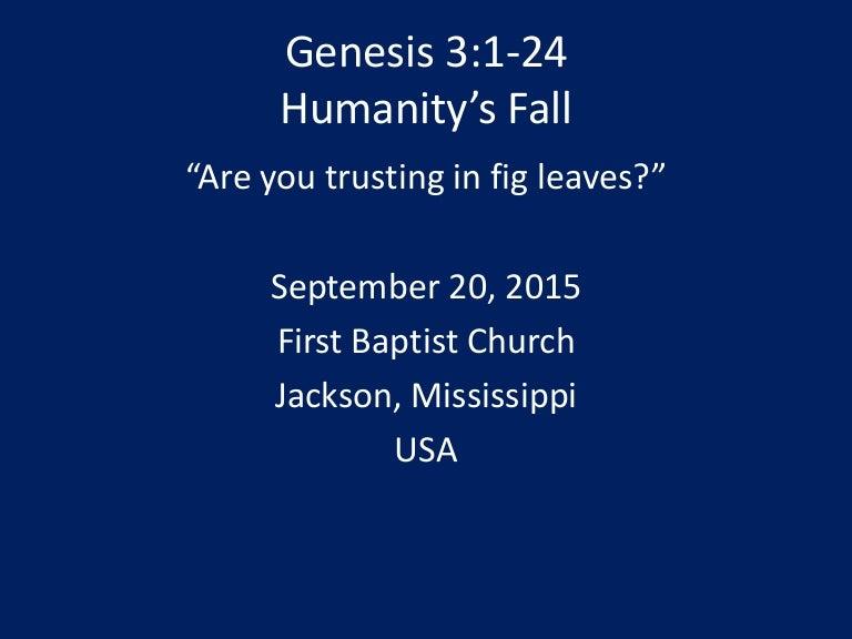 09 September 20, 2015, Genesis 3, Humanity's Fall