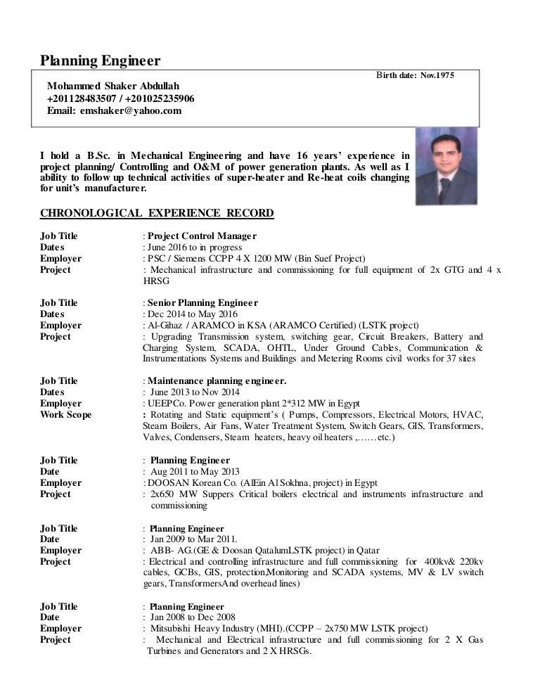 planning engineer cv