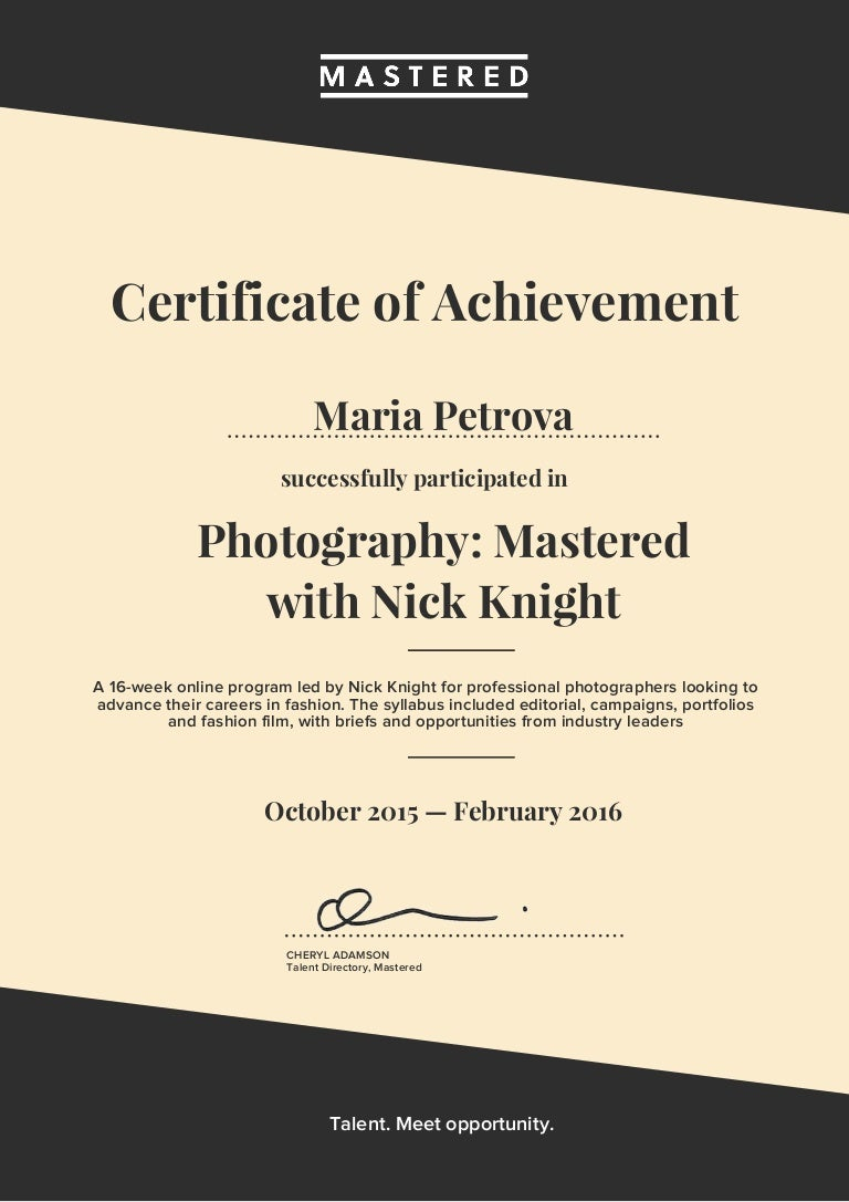 Photography mastered certificate xflitez Images