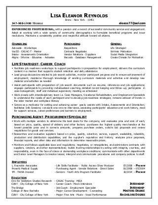 Employment Counselor Resume / Sales / Counselor - Lewesmr