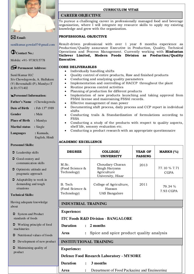 Resume For Food Technologist Resume Ideas