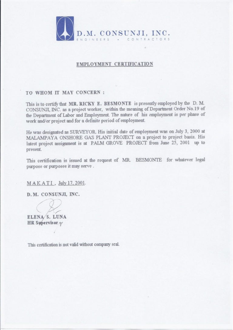 Certification dmci employment certification dmci 1betcityfo Images