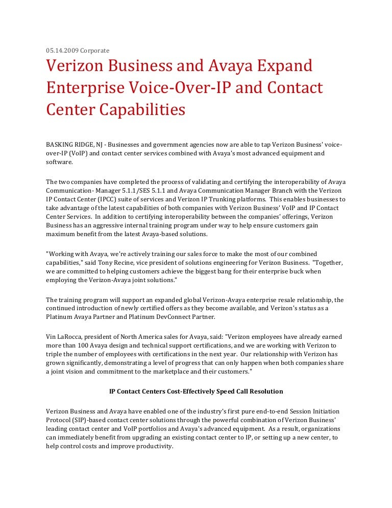 Verizon Business and Avaya Expand Enterprise Voice-Over-IP and Contac…