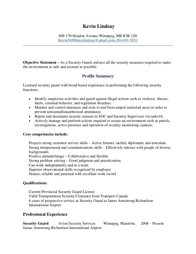 unarmed security guard resume - Resume For Security Guard