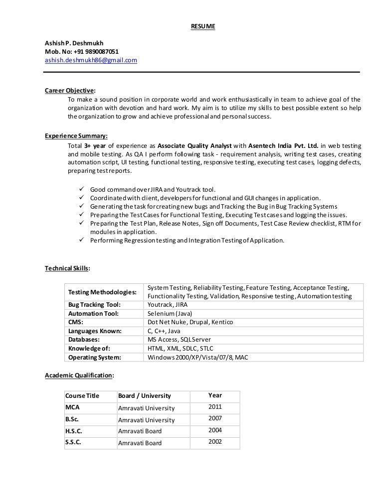 Resume of Ashish Deshmukh