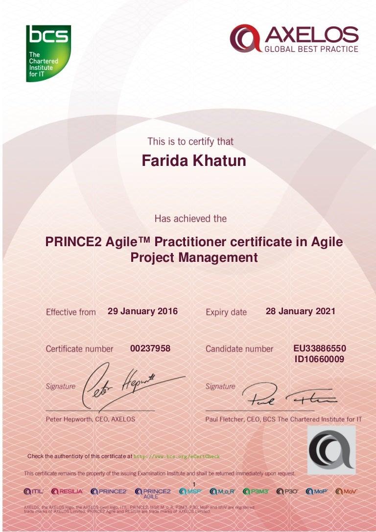 Farida khatun prince 2 agile certificate jan 2016 jan 2021 1betcityfo Choice Image