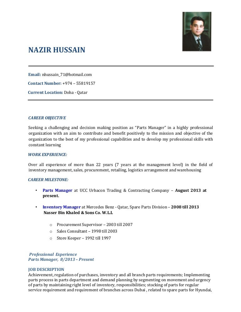 cv parts manager 01032016. Resume Example. Resume CV Cover Letter