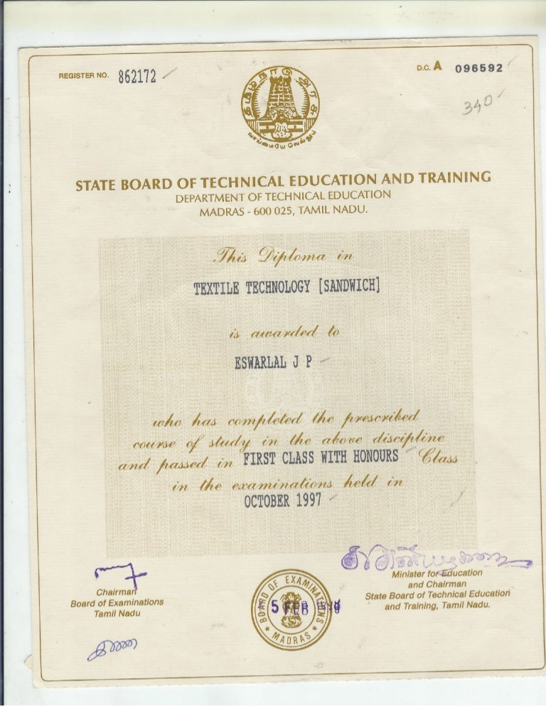 Textile Technology Diplomo Certificate