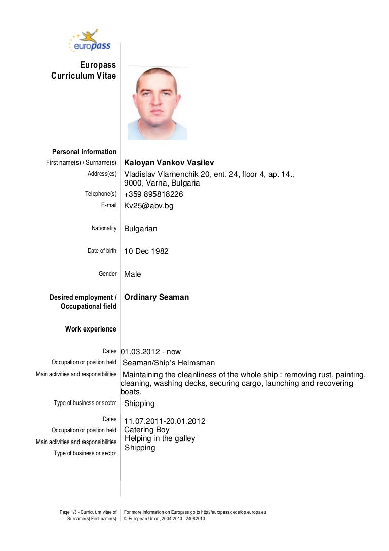 Awesome Able Seaman Resume Images - Simple resume Office Templates .