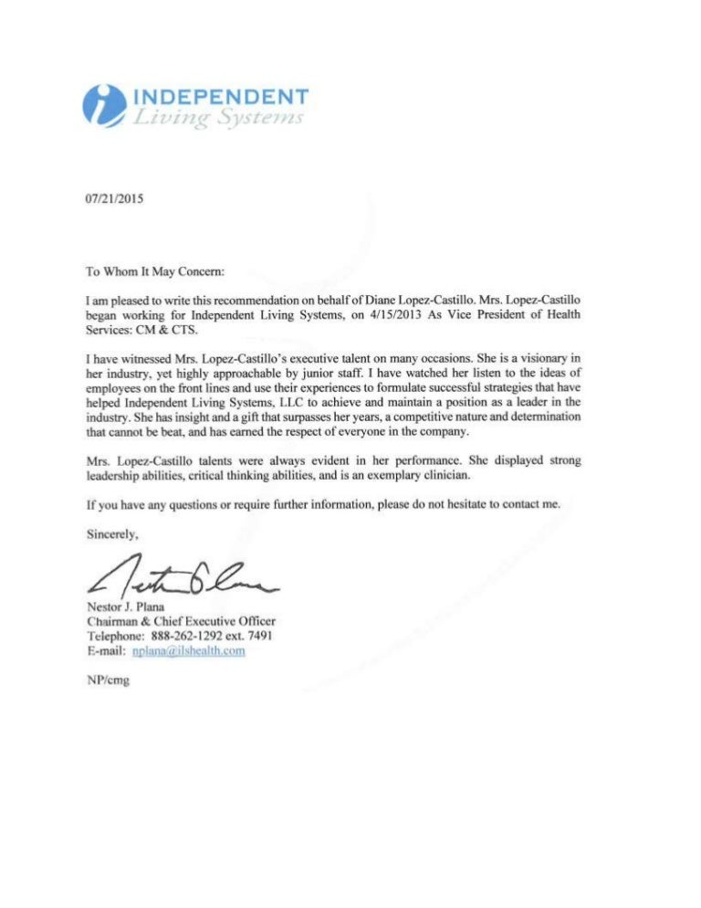 Ceo Letter Of Recommendation