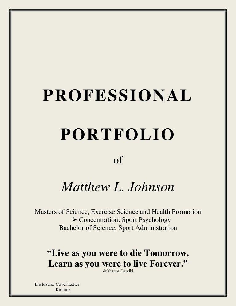sample portfolio cover page