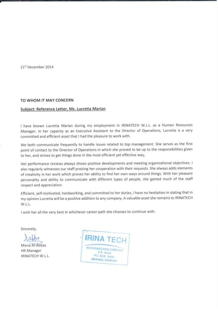 Hr manager mona al abbas recommendation letter spiritdancerdesigns Images