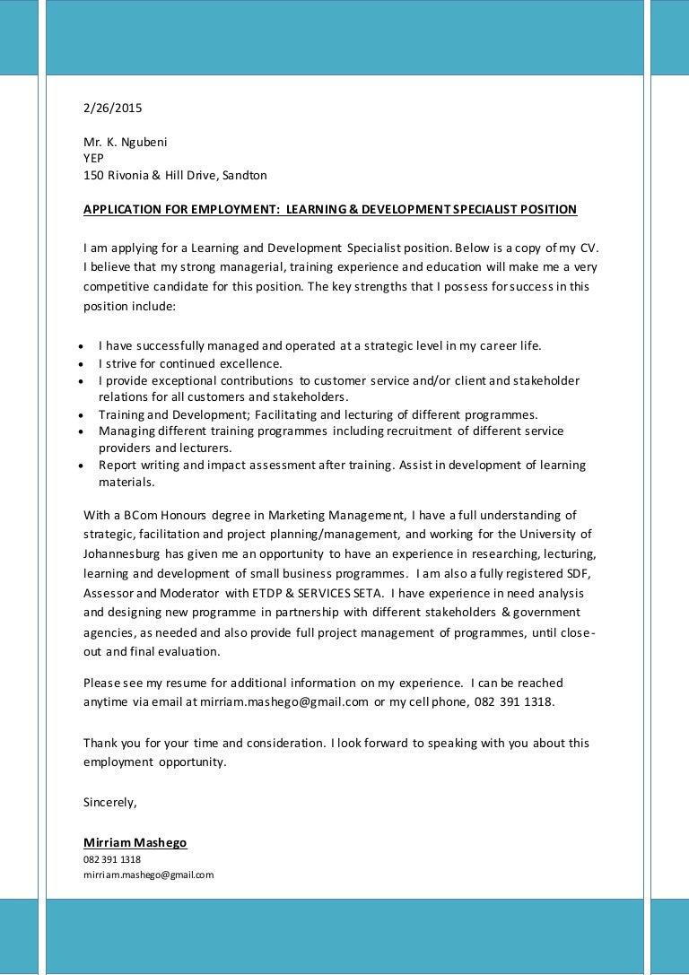 Covering Letter & CV for Learning & Development Specialist