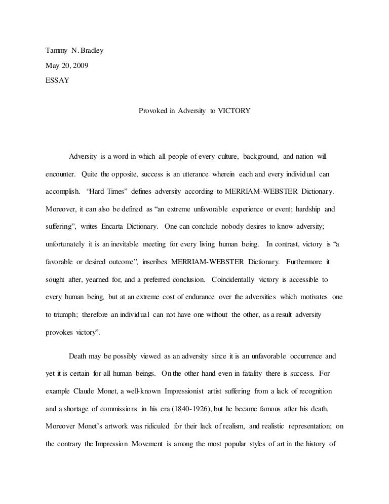 motivated by adversity to success essay
