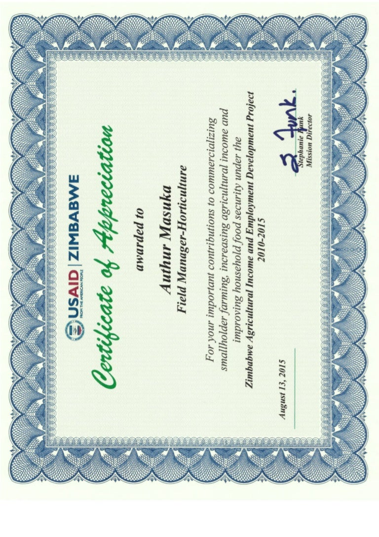 Certificate of appreciation usaid yadclub Images