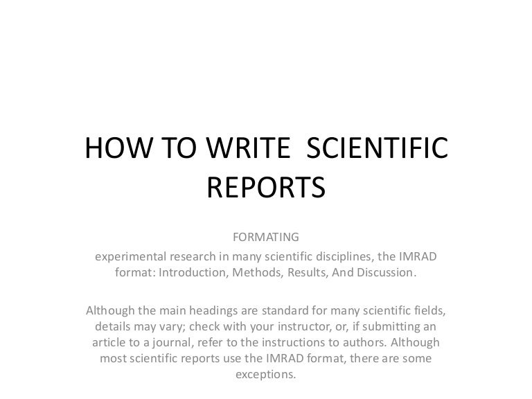 How To Write Scientific Reports