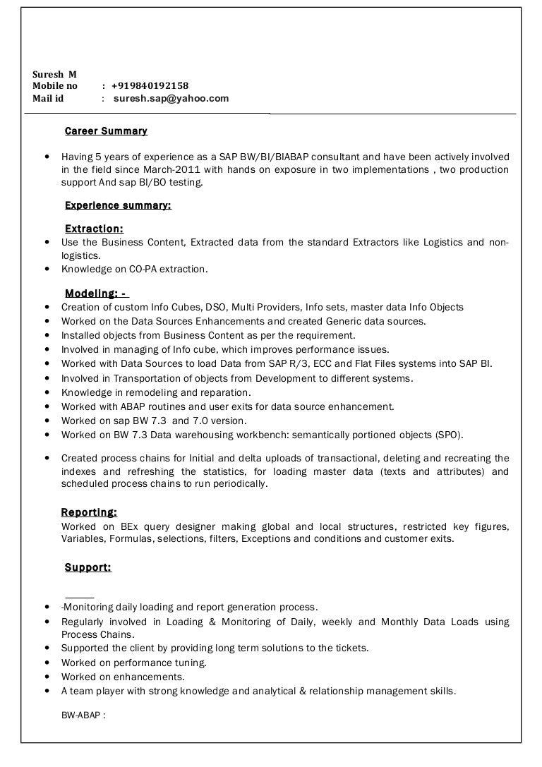 suresh resume BI ABAP