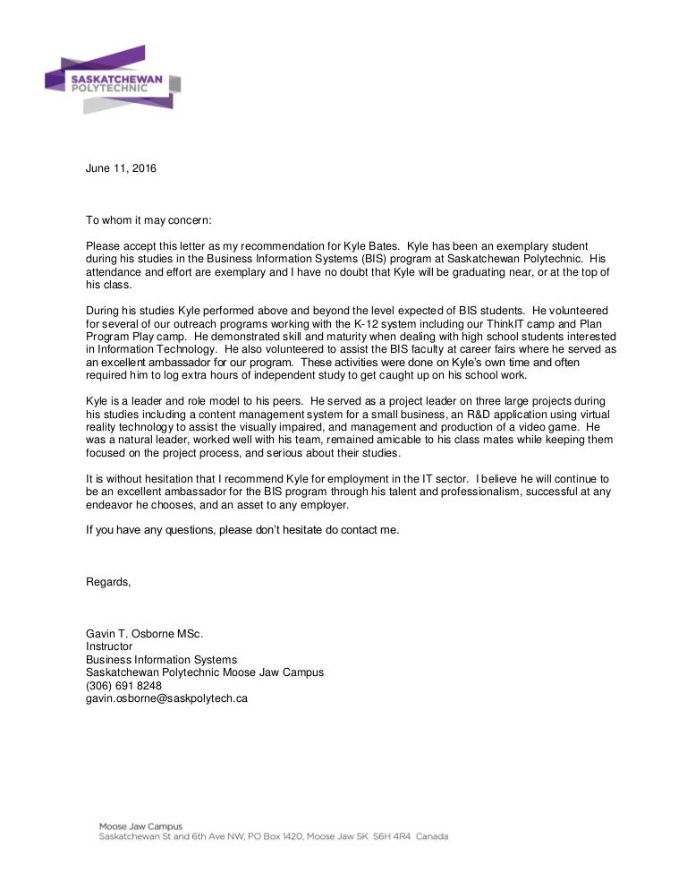 kylebates letter of recommendation
