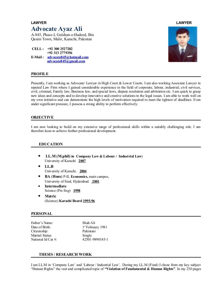 lawyer cv  advocate ayaz ali