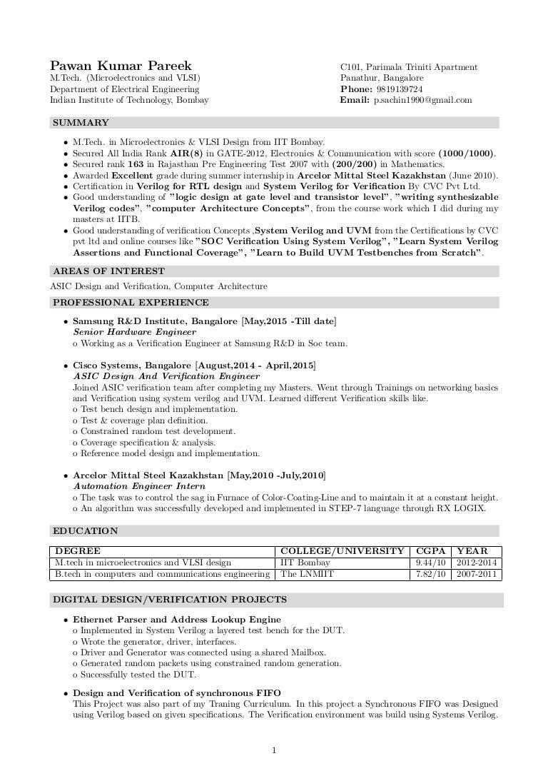 electrical engineering sample resume asic verification engineer sample resume resume vlsi verification resumes postjobfreecom also asic engineer samples - Implementation Engineer Sample Resume