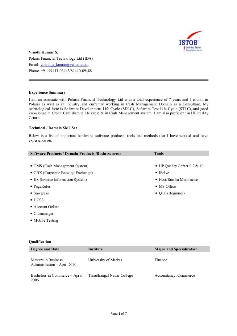 manual testing resume samples manual testing banking domain