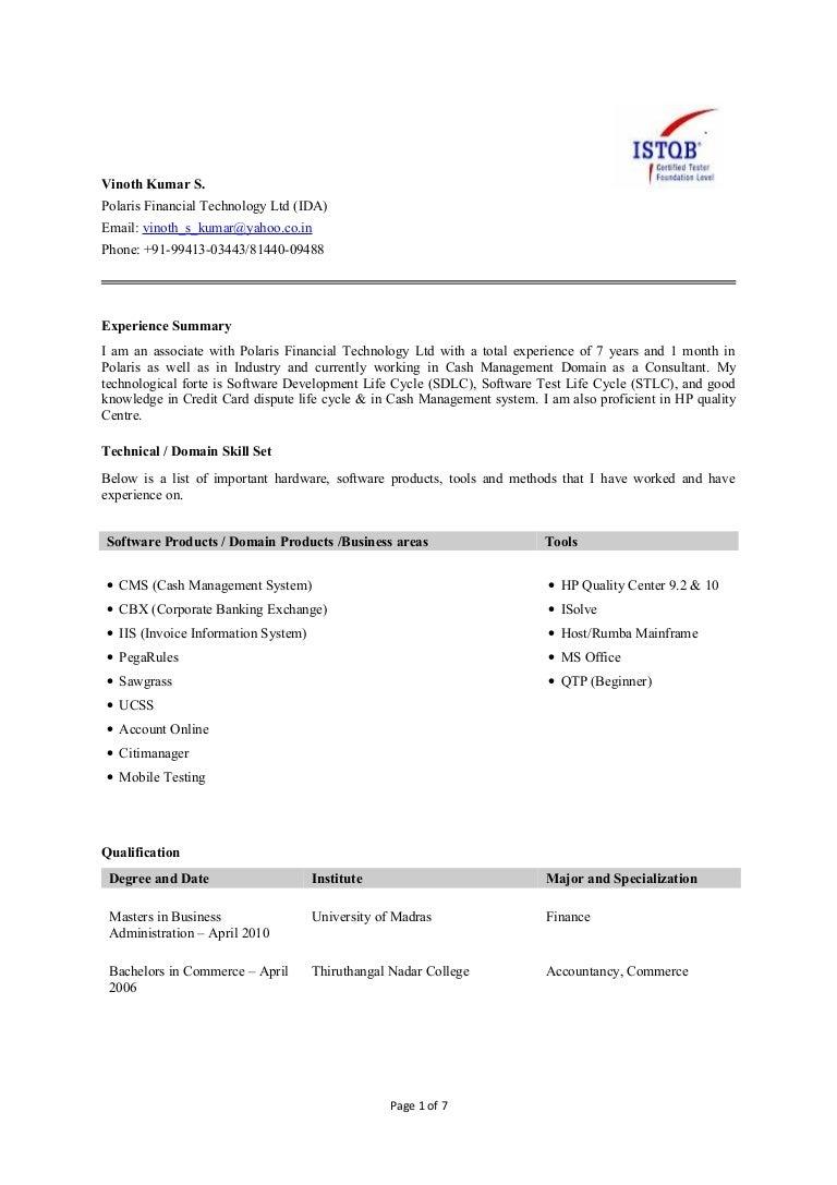 Resume Banking Domain Testing Resume manual testing in banking domain