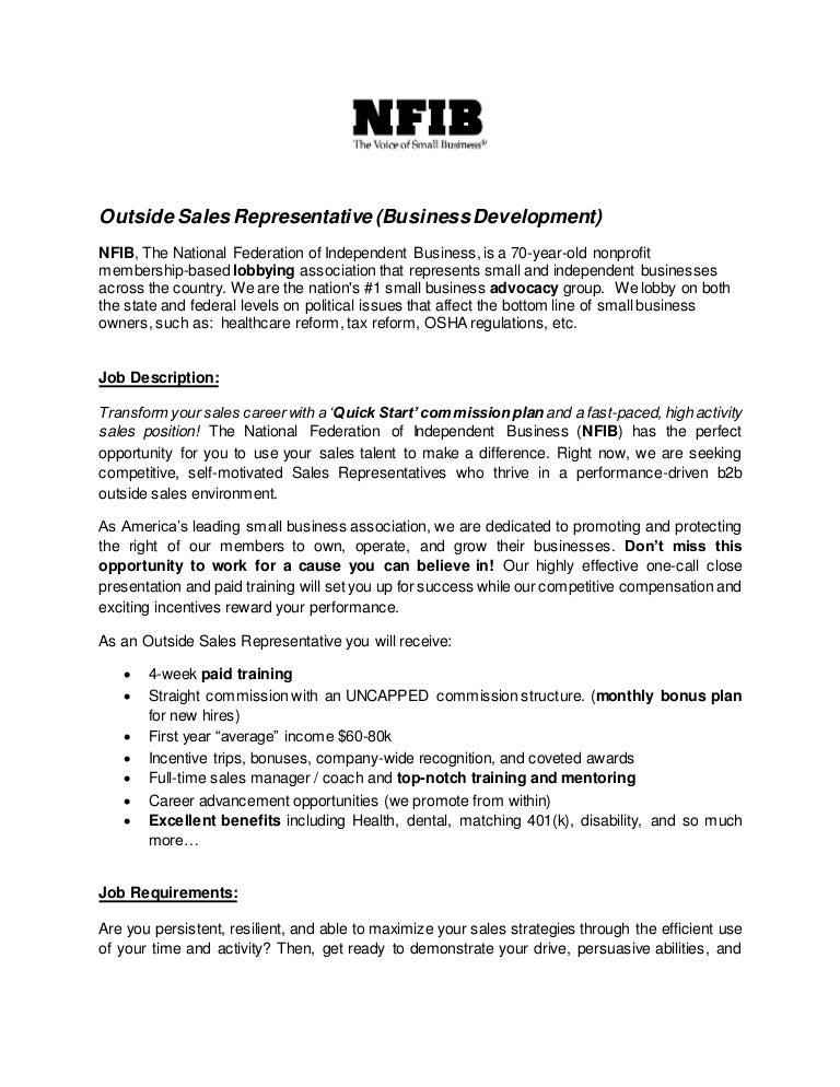 Outside Sales Representative -job description