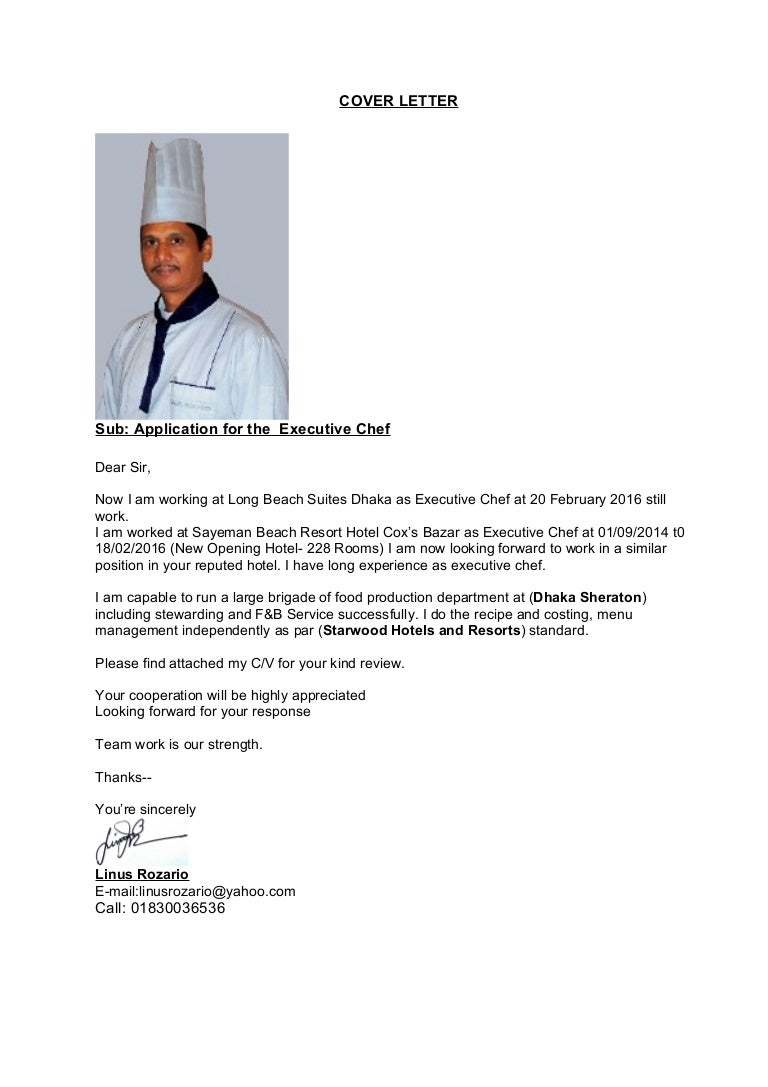 Executive Chef Cover Letter Sample - 100+ Cover Letter Samples