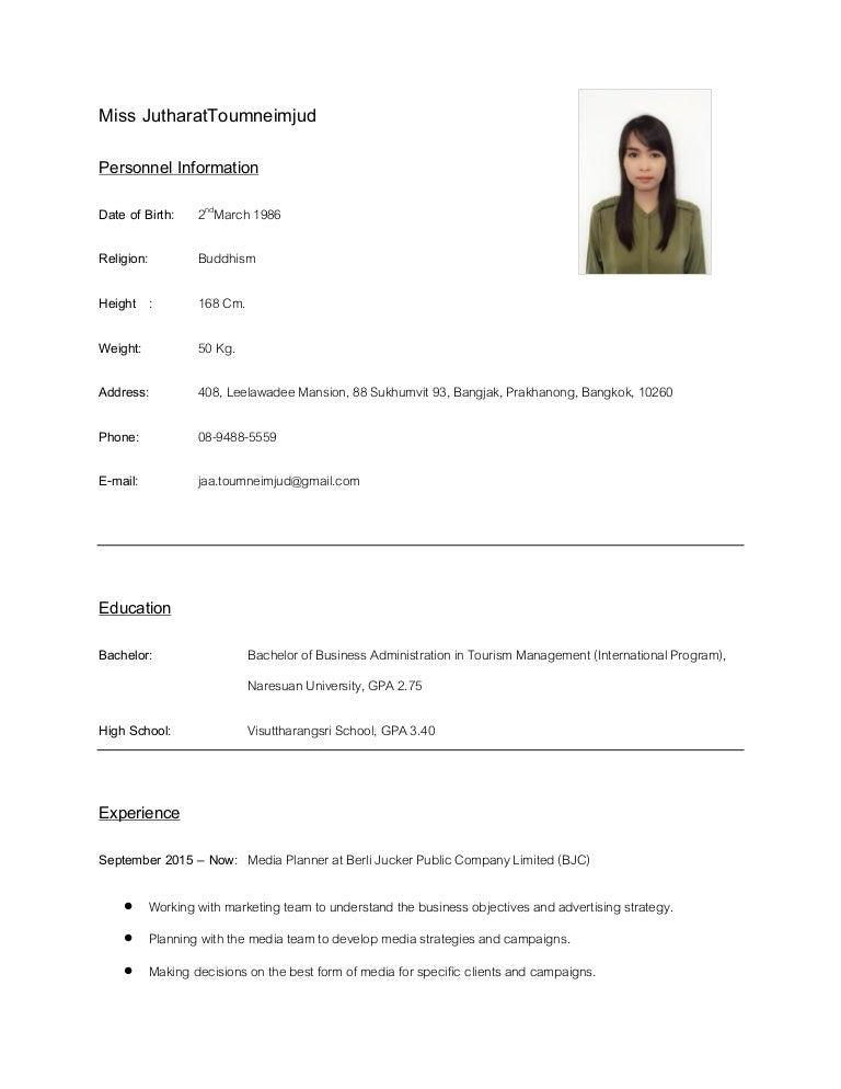 Jutharat S Resume