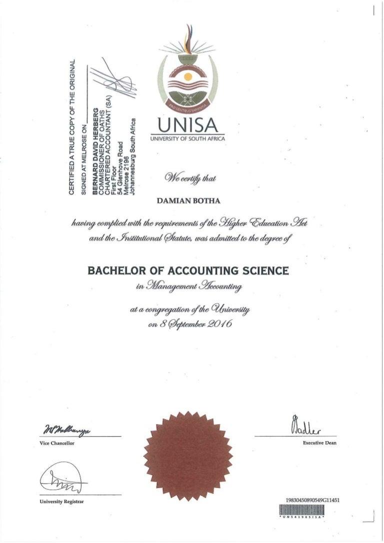 Damian Botha - UNISA degree