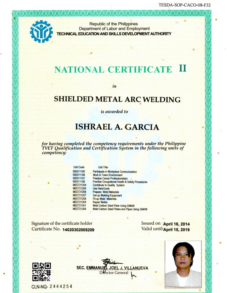 certificate of shielded metal arc welding