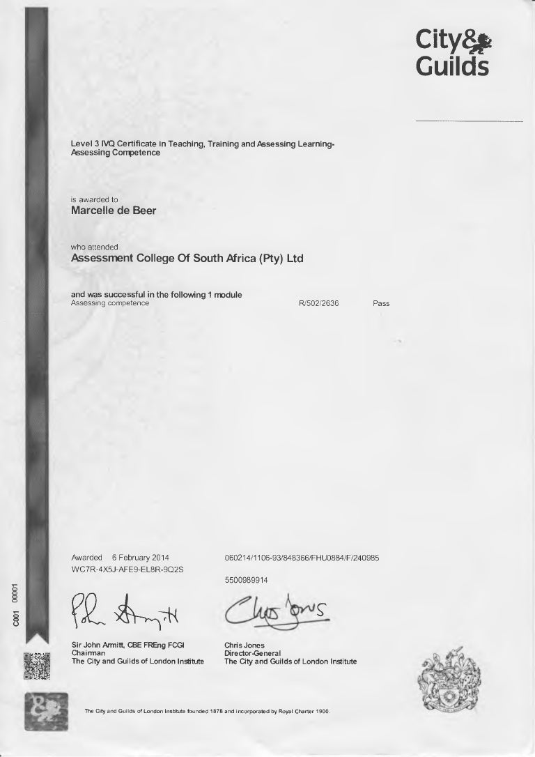 141101 Assessor Certificate Grey Scale Electrical Wiring South Africa