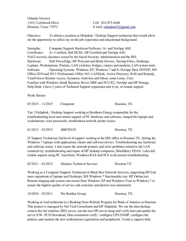 desktop technician resume