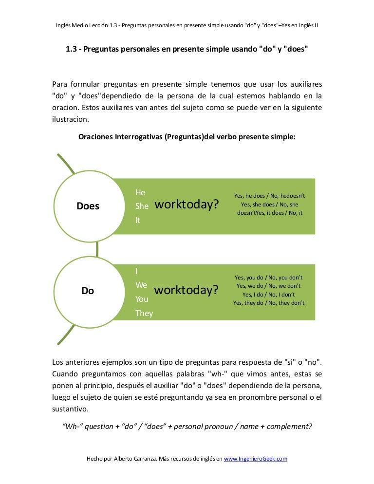 1 3 Preguntas Personales En Presente Simple Usando Do Y Does
