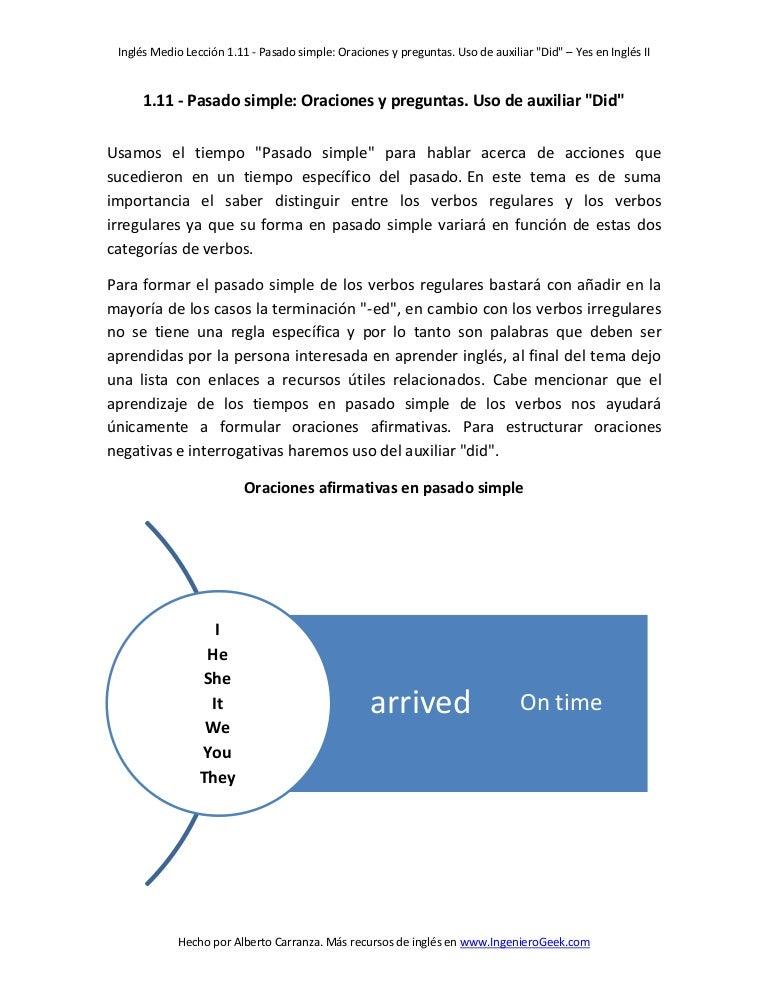 Estructura Gramatical Para Hacer Oraciones Afirmativas En ...