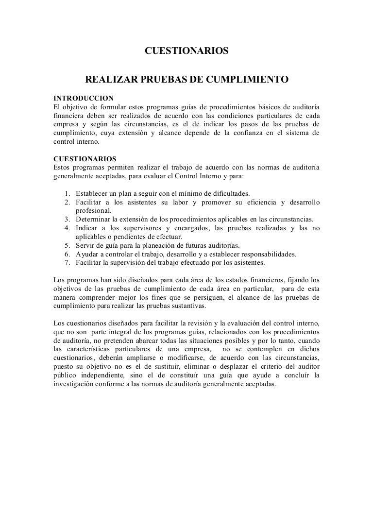 CUESTIONARIOS DE AUDITORIA
