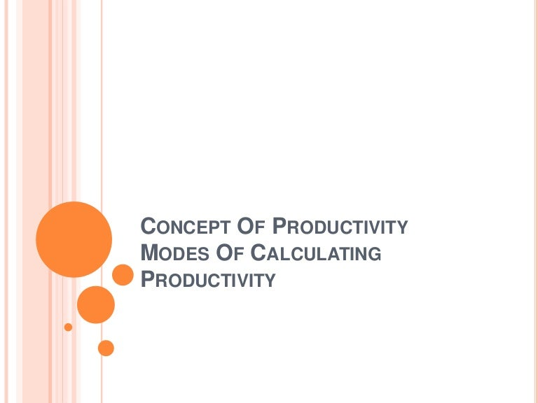 1  productivity concept and calculation