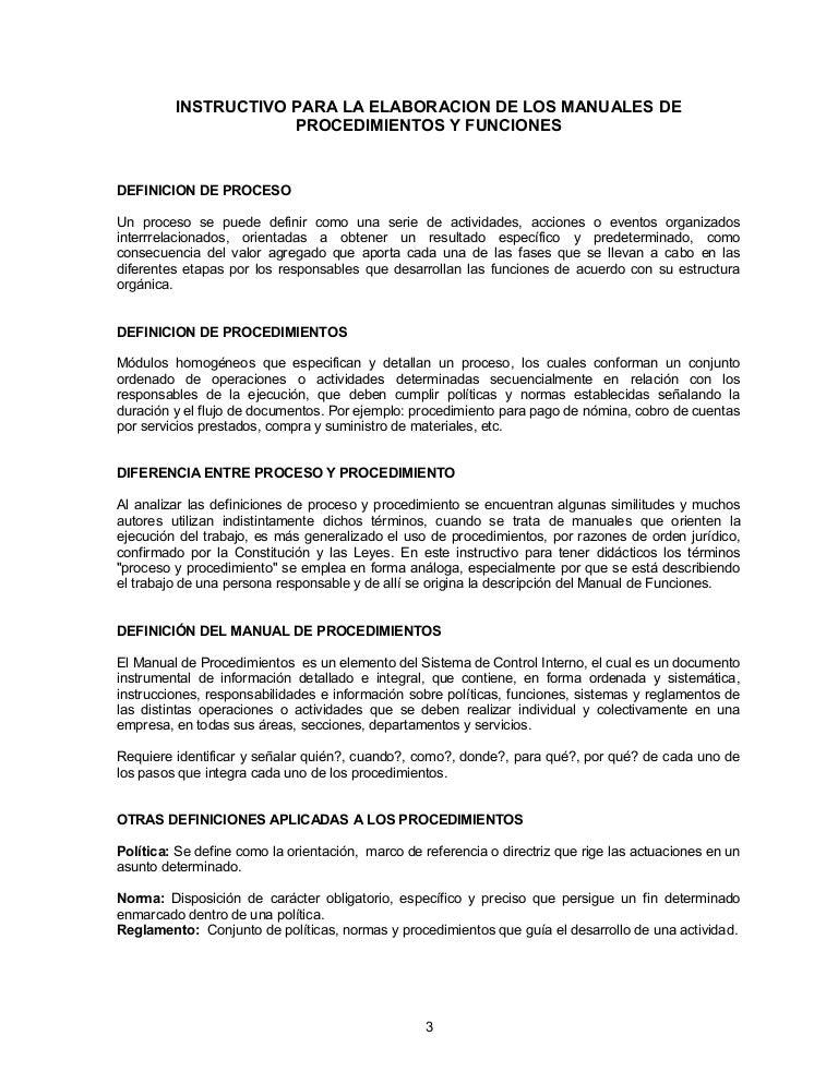 1 2 9 instructivo para elaborar manuales de procedimientos Manual de procesos y procedimientos de una empresa de alimentos