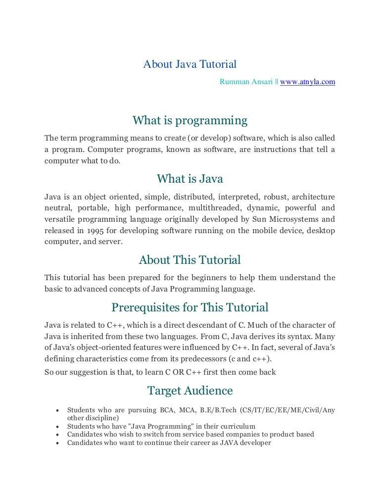 Java Tutorial best website