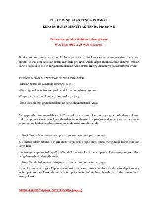 Telp/WA: 0857-2135-9436 Jual Tenda Promosi Manggarai Timur