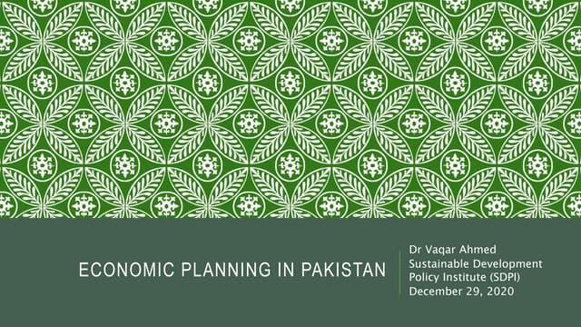 Development Planning in Pakistan