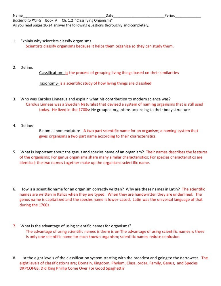 1 2 a reading questions with answers rh slideshare net Biology Homework Answers Modern Biology Book