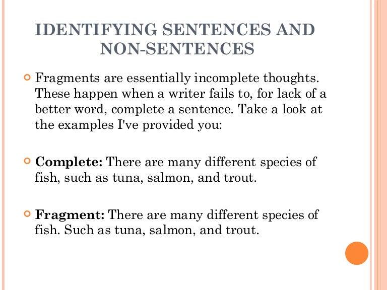 1 2 The Sentence 1  Identifying Sentences And Non Sentences