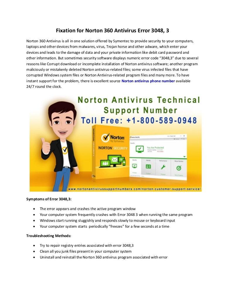 1 800-589-0948 fixation for norton 360 antivirus error 3048, 3