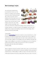 Best handbags' styles