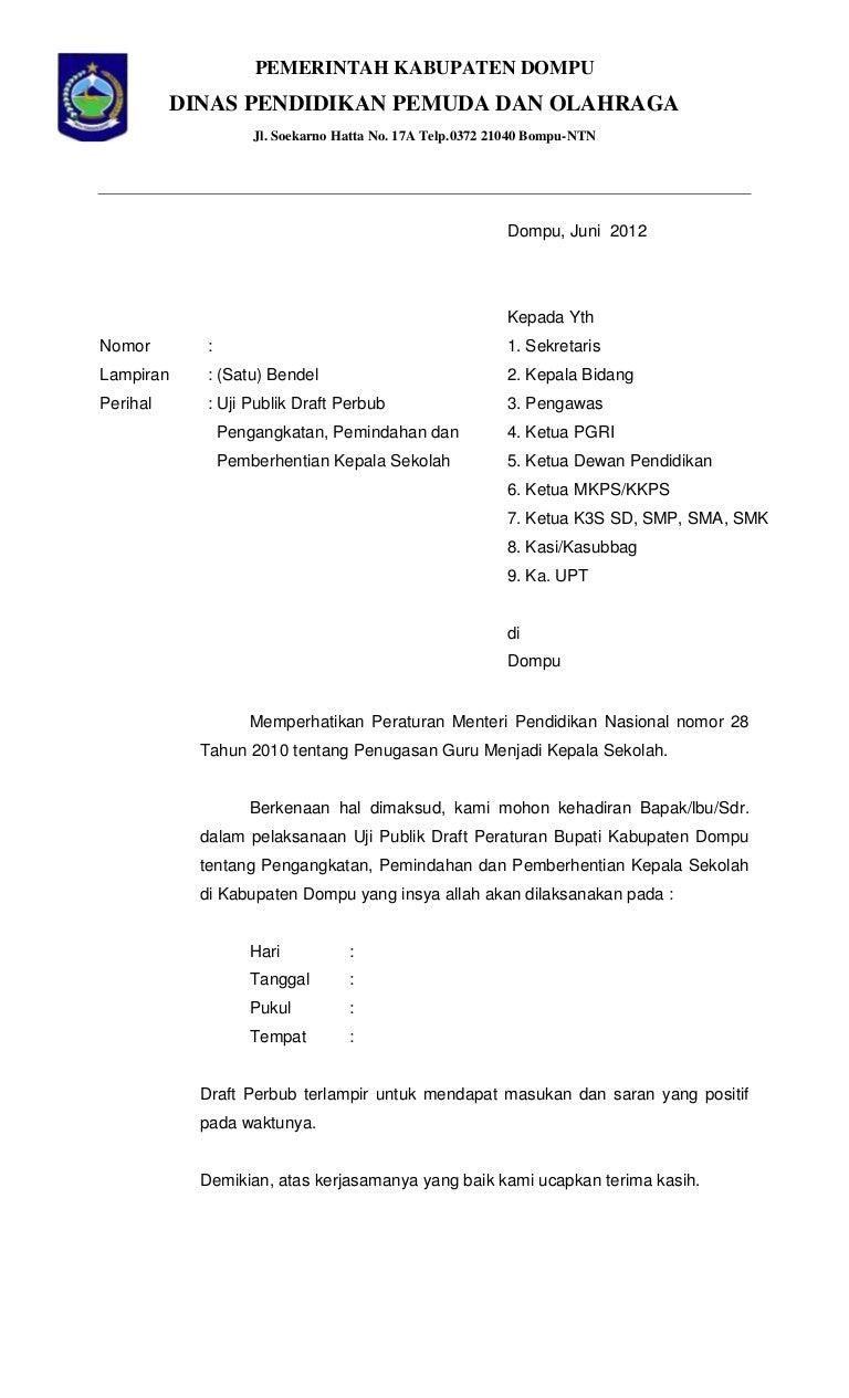 Contoh Surat Pemberhentian Kepala Sekolah Masnurul