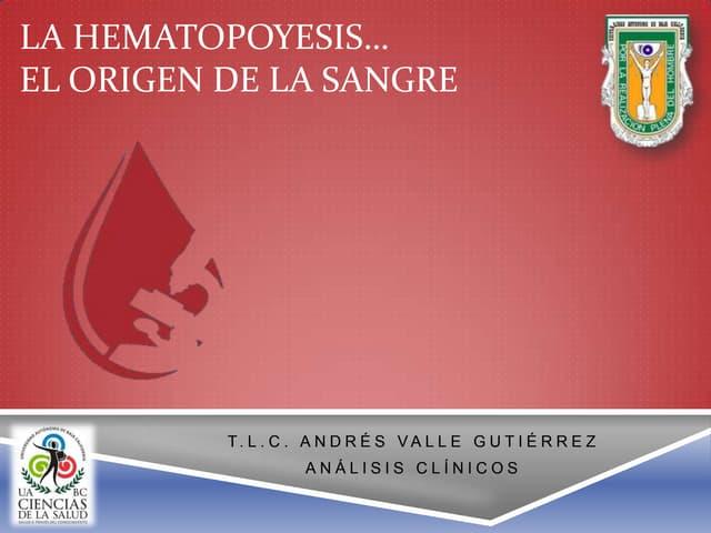 1.  Hematopoyesis y el origen de la sangre