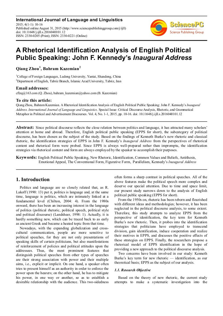 thesis of jfks inaugural address