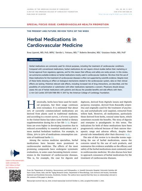Herbal Medications in Cardiovascular Medicine